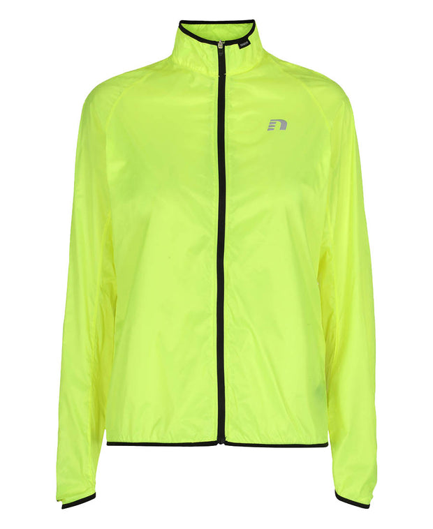 women's neon yellow windpack jacket by newline for aktiv scandinavian running clothes front view