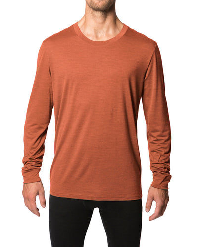 Man wearing rust crew neck long sleeve shirt made of silk and wool