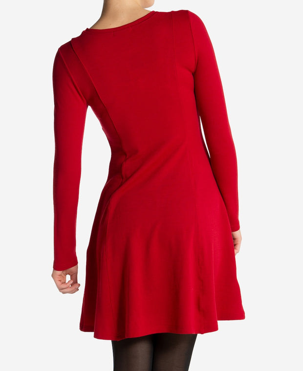 Woman in Red Fjord Flared Dress by We Norwegians