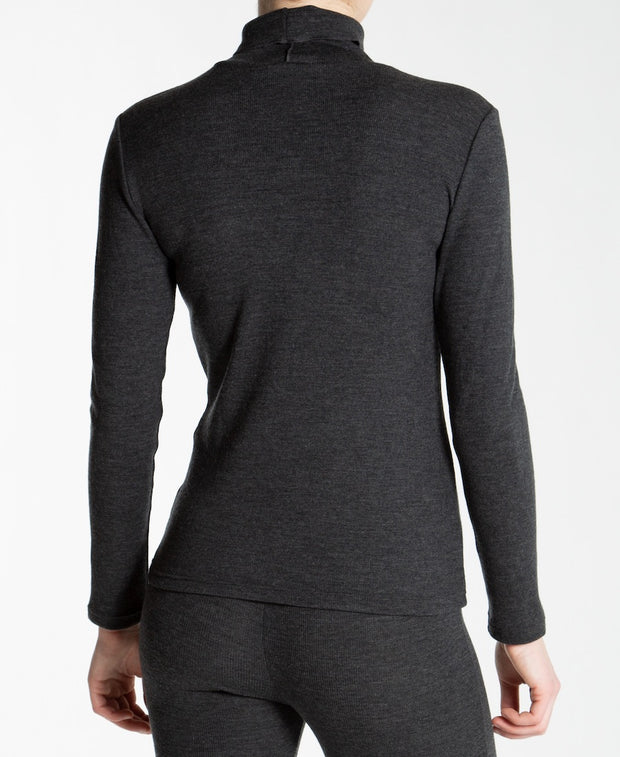Back of Gray ribbed turtleneck for women by We Norwegians