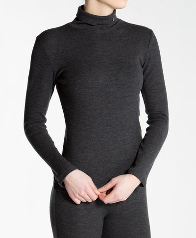 Gray ribbed turtleneck for women by We Norwegians