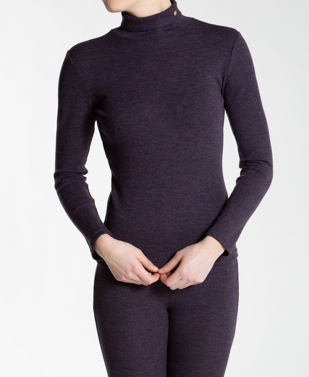Purple ribbed turtleneck for women by We Norwegians