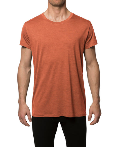 Man wearing a Rust red T-shirt