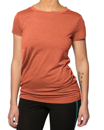 Woman wearing a Rust Orange T-shirt
