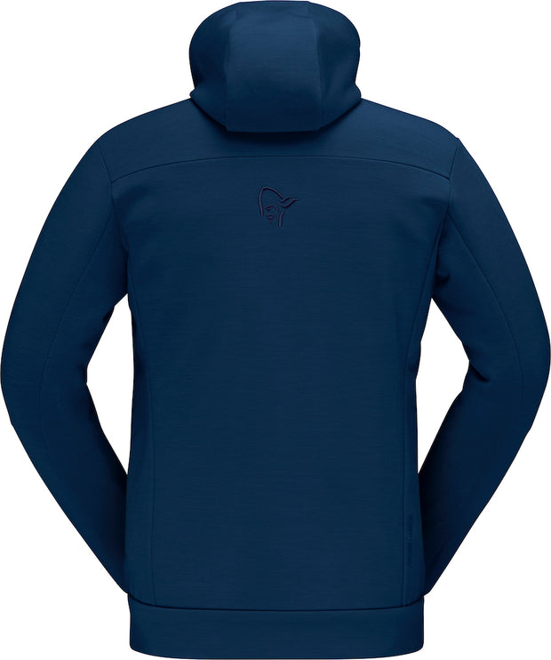 Back view of Dark blue zipped hoodie for men by Norrona
