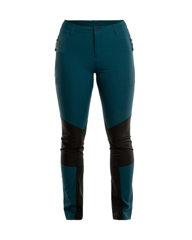 Stretchy hiking pants for women in teal by 8848