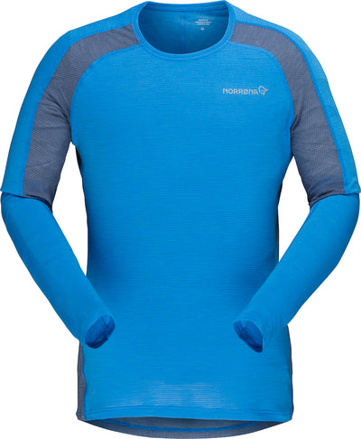 Long sleeve crew shirt in blue for men by Norrona