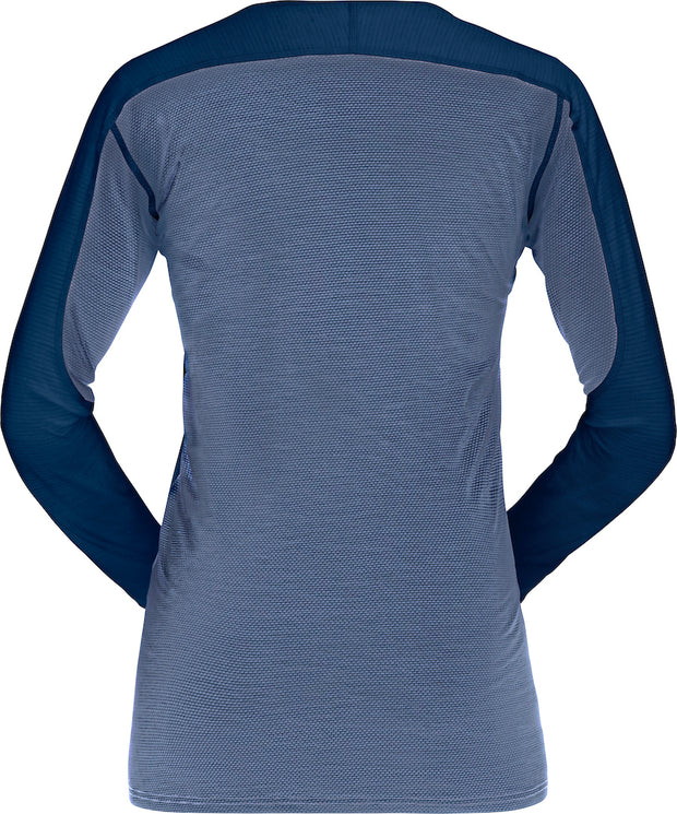 Back view of LOng sleeve wool shirt for women by Norrona
