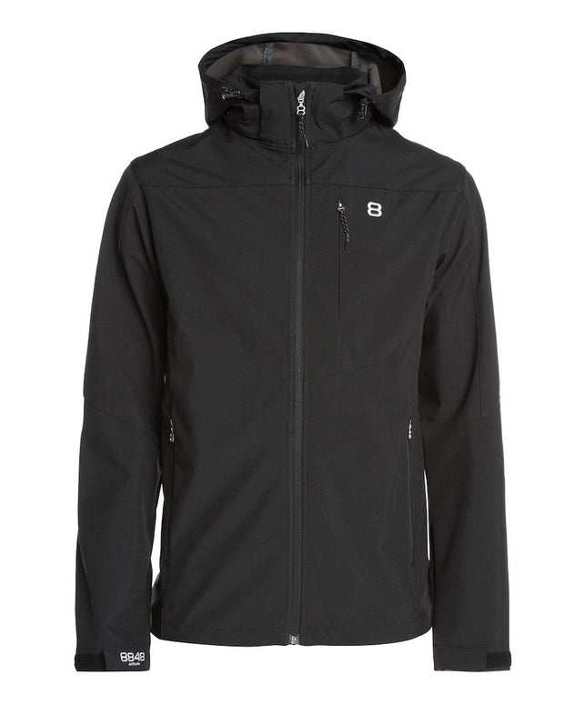 Black hooded rain jacket for men by 8848
