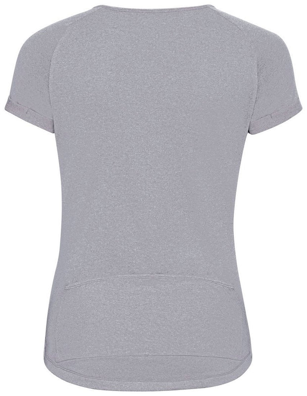 Back view of Woman wearing a gray buttoned cycling shirt by Odlo