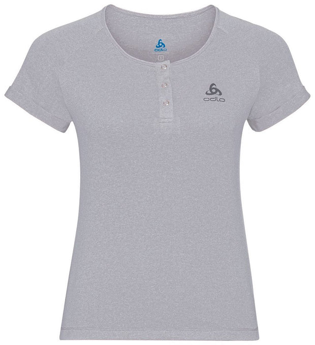 Woman wearing a gray buttoned cycling shirt by Odlo product view