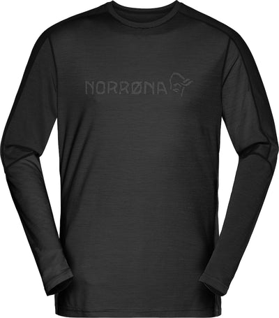 Black wool base layer for men by Norrøna