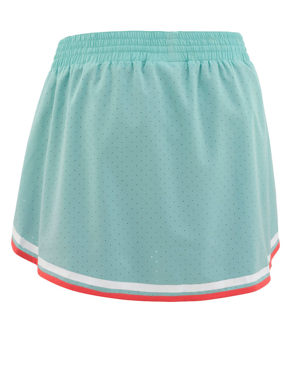 Rear View of Elisa Skort in Mint green/turquoise with Red and white piping at hem by Kari Traa for Aktiv women