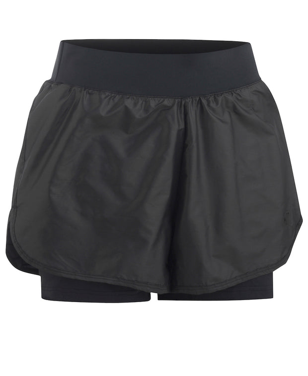 Front View Sigurn Shorts in Black with liner for women by Kari Traa for Aktiv