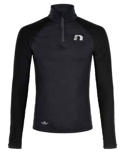 black thermal power shirt men's by newline for aktiv scandinavian athletic wear front view