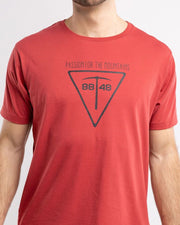 Red T-shirt with a pickaxe on it by 8848 for men