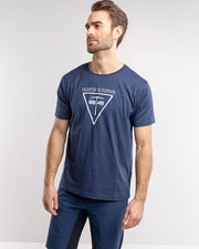 Blue T-shirt with a pickaxe on it by 8848 for men