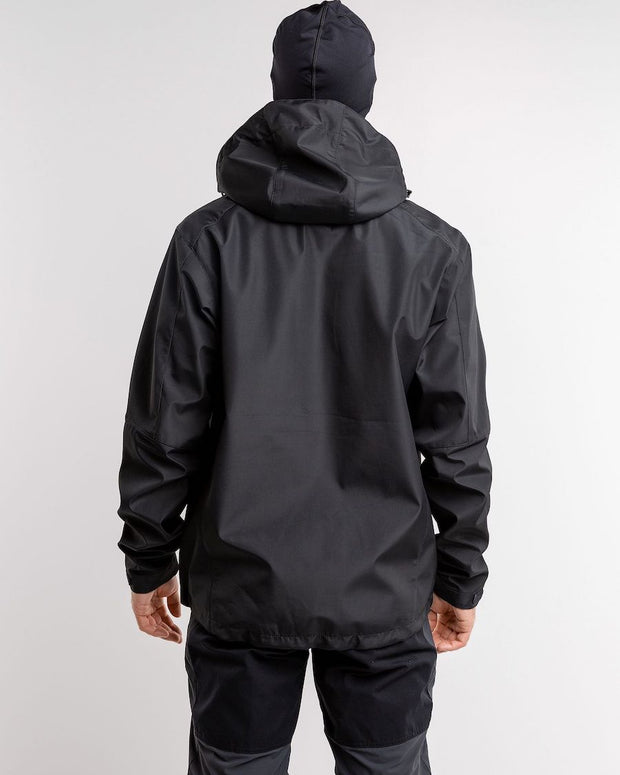 Back view of Black hooded rain jacket for men by 8848