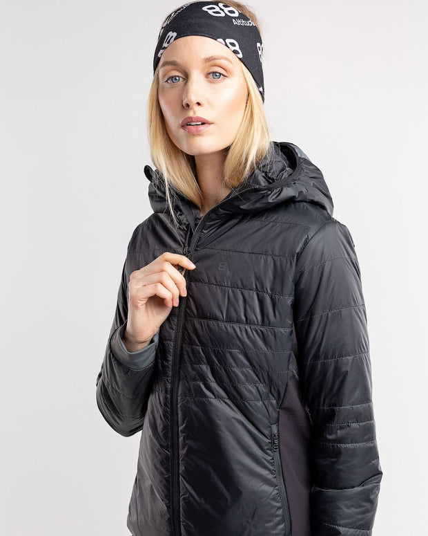 Primaloft coat by 8848 for women in black with a  bandana