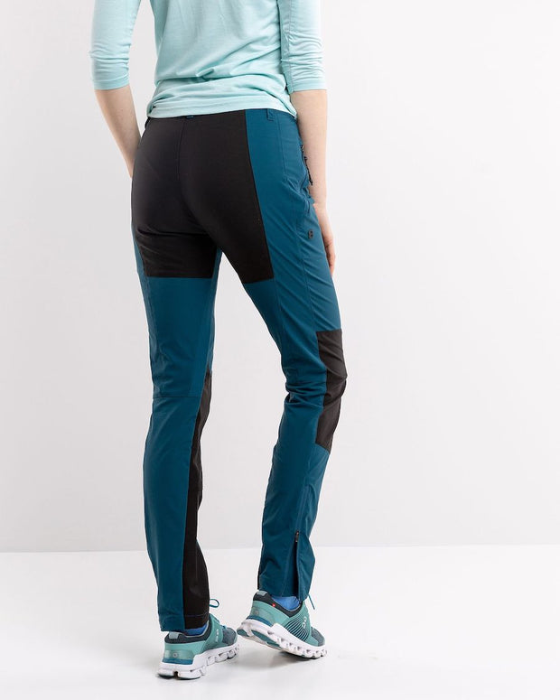 back view of Stretchy hiking pants for women in teal by 8848