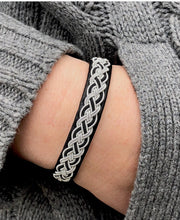 Reindeer leather bracelet with spun pewter and a a reindeer bone clasp