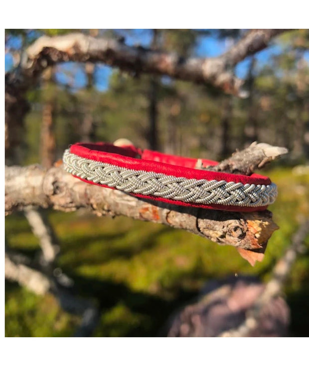 Alma / Oscar Sami Bracelet by julevu handmade in red reindeer hide and shed antlers