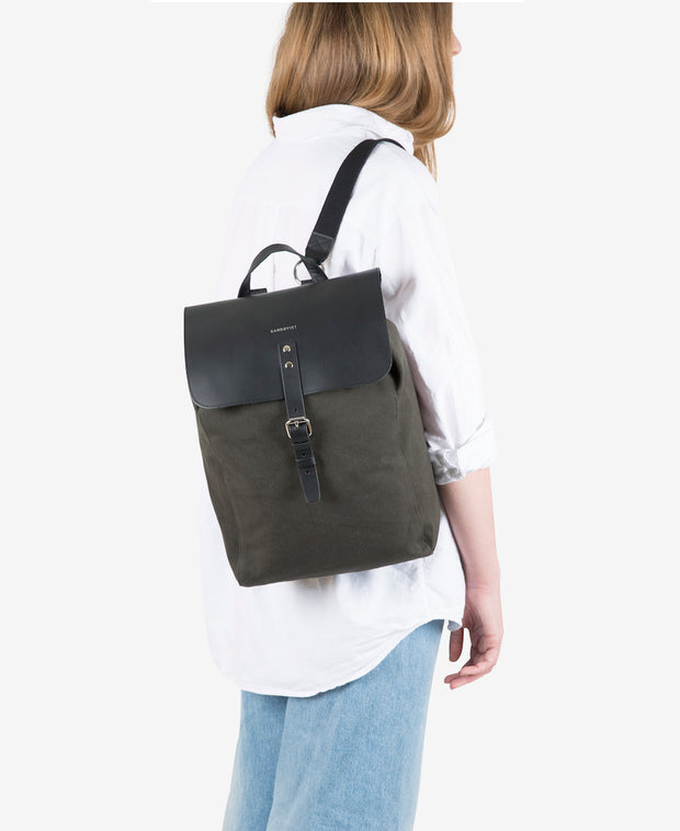 Alva Khaki Beluga Leather and Organic Cotton Canvas Backpack by Sandqvist for Aktiv on Female Model