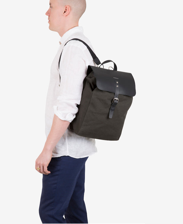 Alva Khaki Beluga Leather and Organic Cotton Canvas Backpack by Sandqvist for Aktiv on Male Model