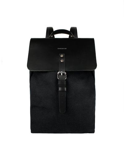 Alva Black Leather and Organic Cotton Canvas Backpack by Sandqvist for Aktiv