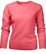 Amundsen Peak Crew Neck Sweater for Women in Coral Pink with discrete details on left forearm