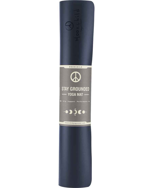 aura blue stay grounded yoga mat by moonchild yoga wear for aktiv scandinavian athleisure rolled up view