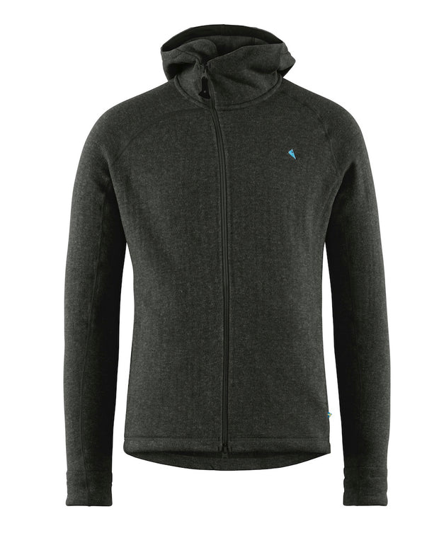 front view of men's balder hoodie by klattermusen in charcoal grey available at aktiv