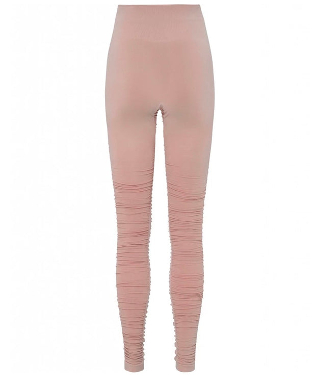 Rose Dust Pink Ballet Leggings with Ruched Bottom for Yoga and Barre
