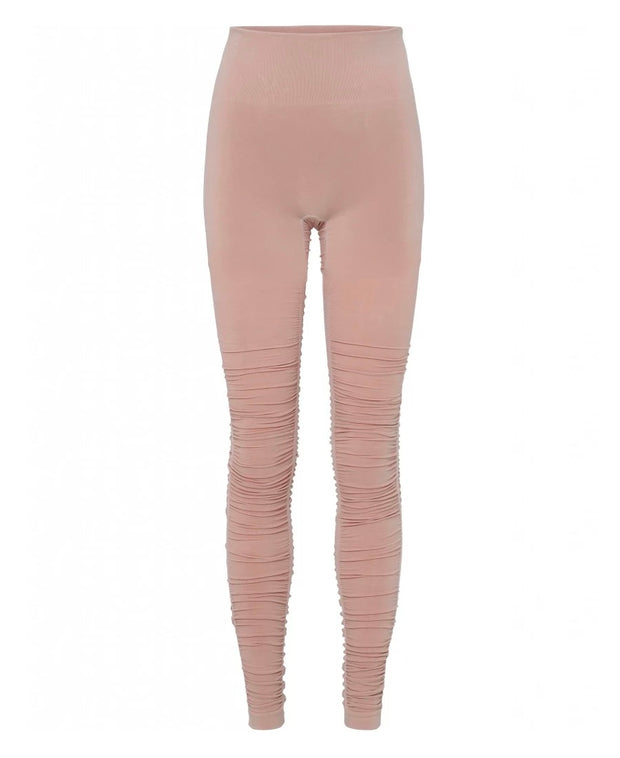 Rose Dust Pink Ballet Leggings with Ruched Bottom for Yoga and Barre, Rear View