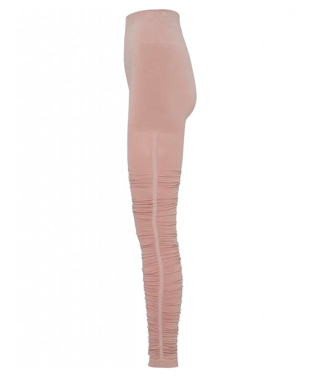 Rose Dust Pink Ballet Leggings with Ruched Bottom for Yoga and Barre, Profile View