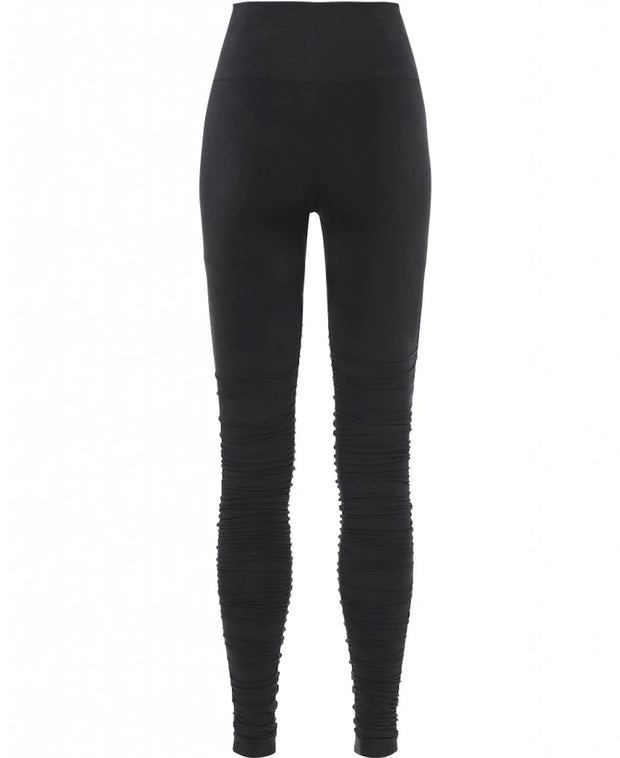 Black Iris Ballet Leggings with Ruched Bottom for Yoga and Barre, Back View