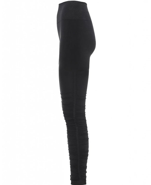Black Iris Ballet Leggings with Ruched Bottom for Yoga and Barre, Side View