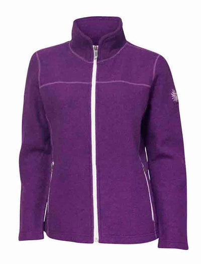 Purple full zip sweater for women by Ivanhoe of Sweden