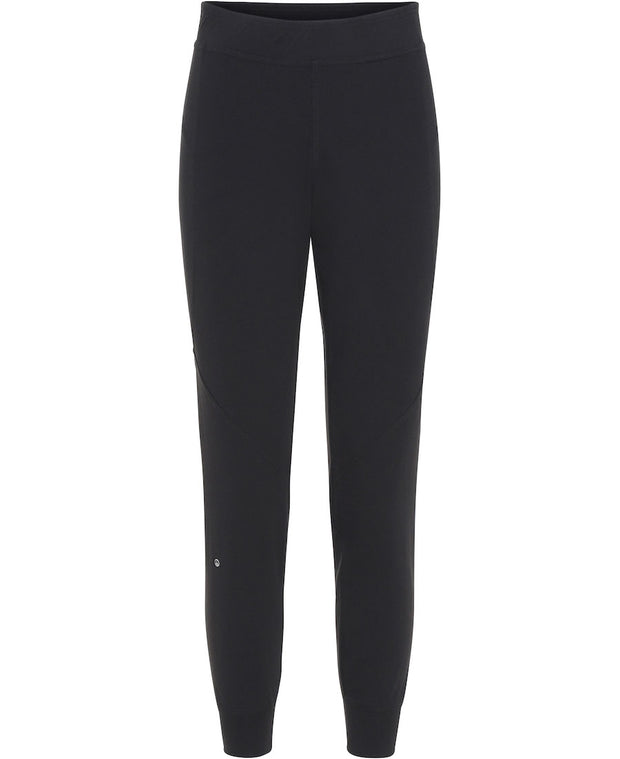Front of Black Iris Fave pants by Moonchild for Aktiv Logo on lower right leg Scandinavian loungewear