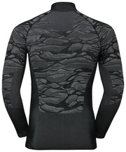 back view of black half zip base layer by Odlo