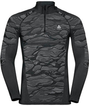 front view of black half zip base layer by Odlo