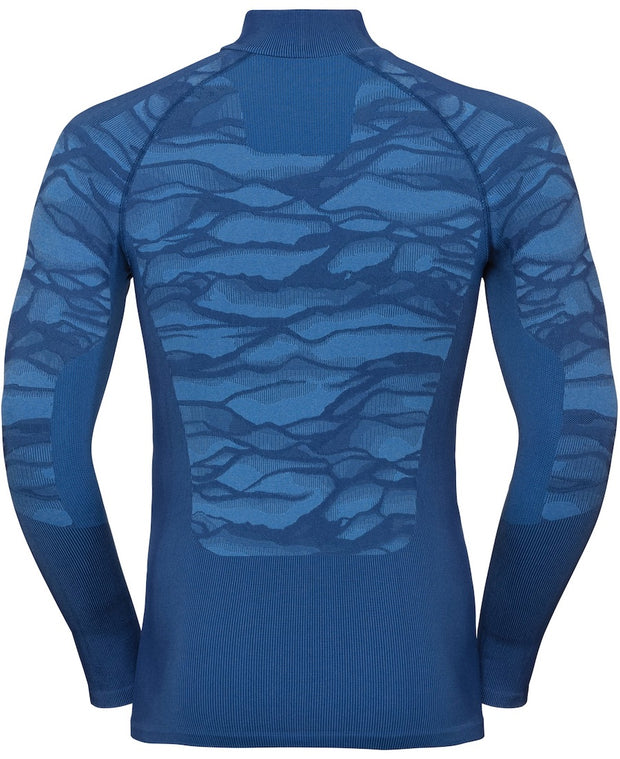 back view of patterned blue half zip base layer by Odlo