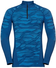 Product view of Man wearing a patterned blue half zip base layer by Odlo