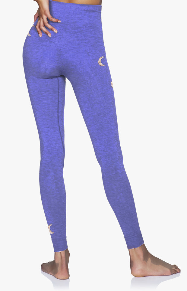 Solstice Seamless Legging with silver crescent moons in Blue Iris Purple on model