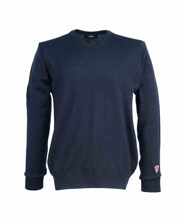 V-neck style in a thin, soft and comfortable fine merino wool by Ivanhoe of Sweden for Aktiv with the feeling of cashmere in Navy.