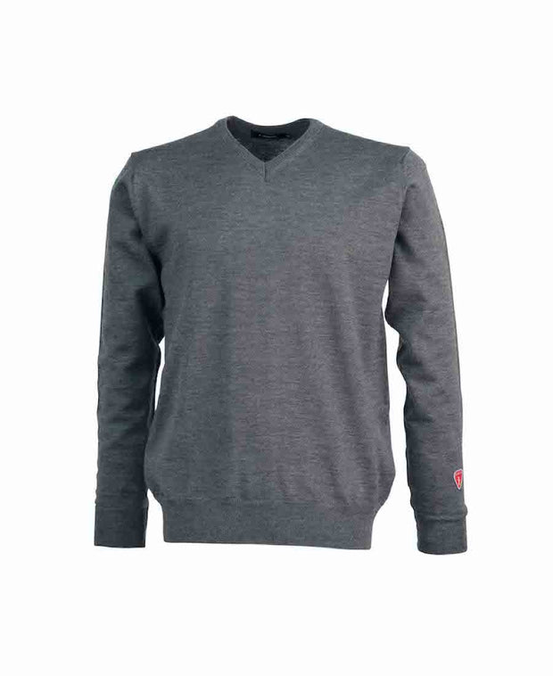 V-neck style in a thin, soft and comfortable fine merino wool by Ivanhoe of Sweden for Aktiv with the feeling of cashmere in Gray