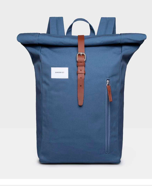 Dante Backpack in Dusty Blue with Leather Trim and pull tabs external pocket