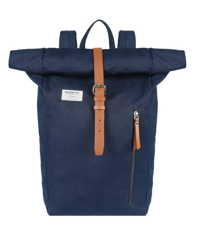 Dante Backpack in Navy with Leather Trim and pull tabs external pocket