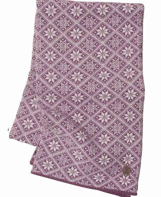 Wine Heather Elsie Scarf in Norwegian Star Pattern by Ivanhoe of Sweden for Aktiv Outdoor Use