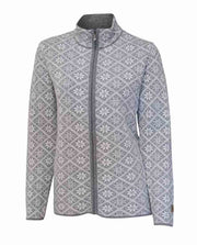 Women's zipped cardigan in nordic pattern by Ivanhoe of Sweden in Gray